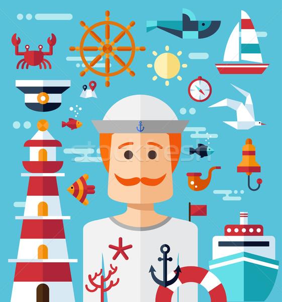 Illustration of vintage flat design modern nautical, marine comp Stock photo © Decorwithme