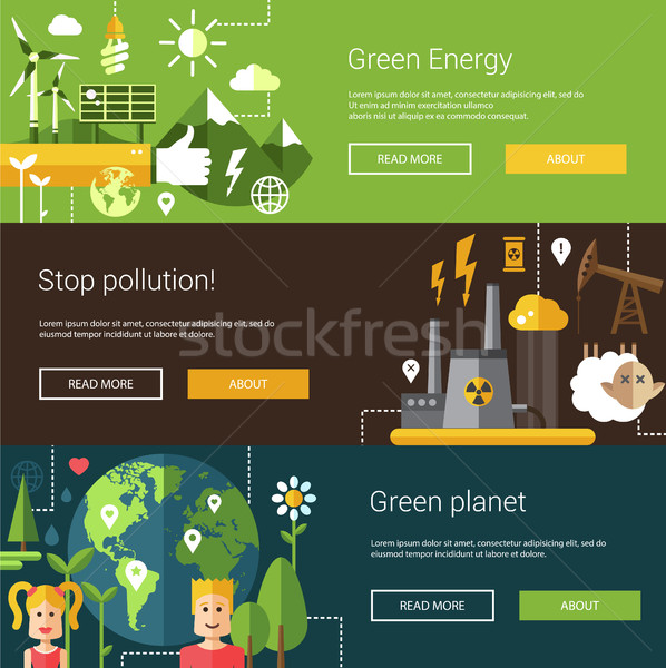 Set of ecological flat modern illustrations, banners, headers wi Stock photo © Decorwithme