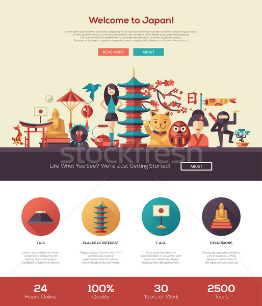 Traveling to Japan website header banner with webdesign elements Stock photo © Decorwithme