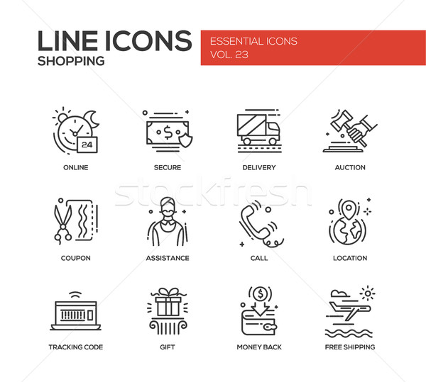 Shopping - line design icons set Stock photo © Decorwithme