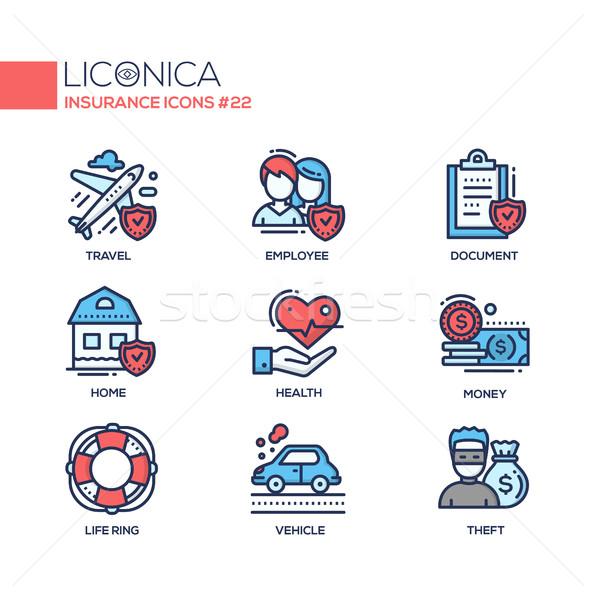 Insurance - coloured modern single line icons set Stock photo © Decorwithme