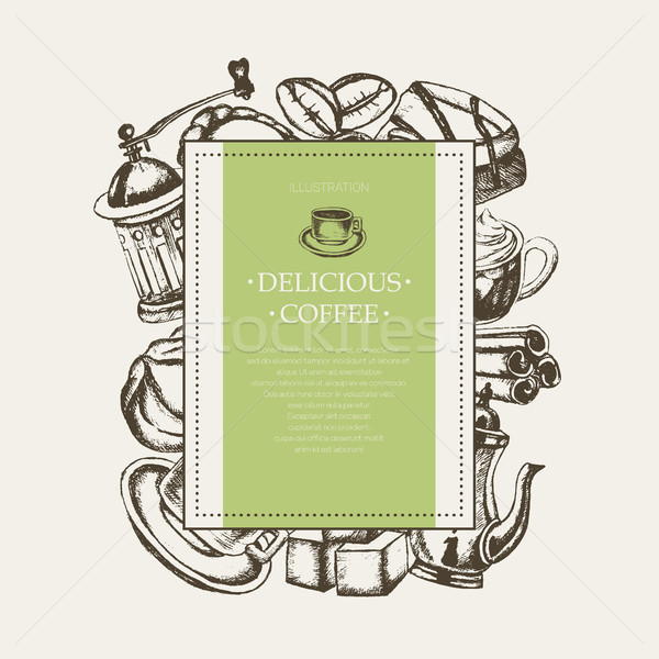 Delicious Coffee - monochromatic hand drawn square banner. Stock photo © Decorwithme