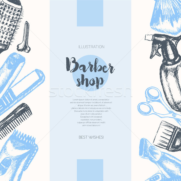 Barber Equipment - vector hand drawn banner template. Stock photo © Decorwithme