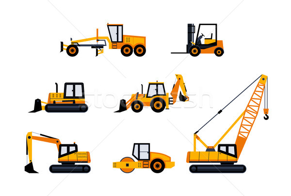 Construction Vehicles - modern vector icon set Stock photo © Decorwithme