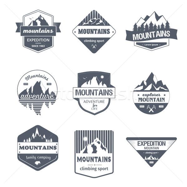 Climbing Sport - vintage vector set of logos Stock photo © Decorwithme