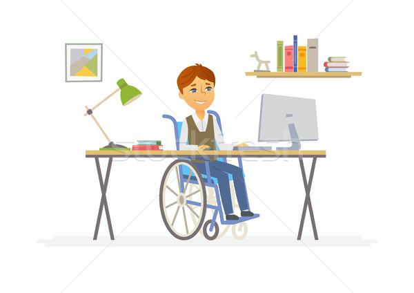Online education - illustration of disabled school boy at home computer Stock photo © Decorwithme
