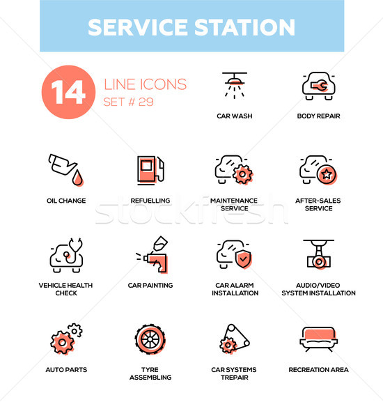Service station - modern vector single line icons set Stock photo © Decorwithme