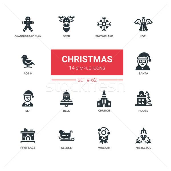 Holiday season, Christmas - line design icons set Stock photo © Decorwithme