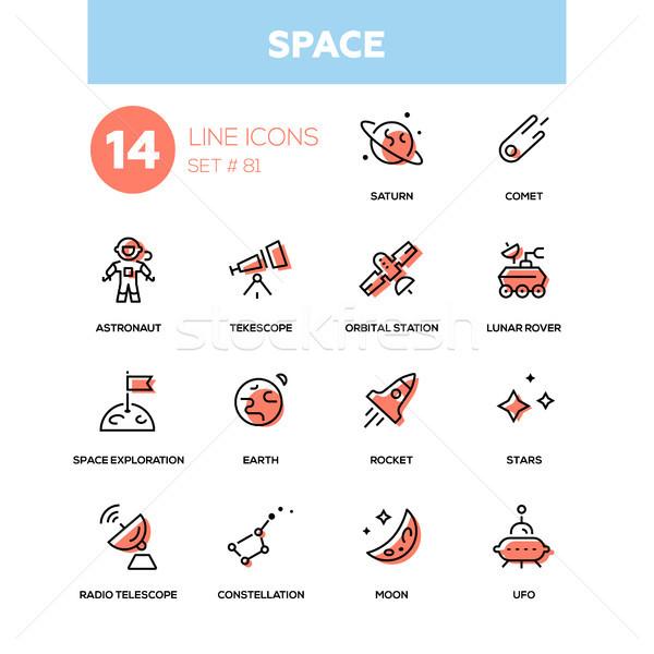 Espaço linha projeto preto pictogramas Foto stock © Decorwithme