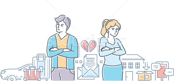 Rozwód kolorowy line projektu stylu ilustracja Zdjęcia stock © Decorwithme