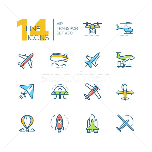 Air transport - line design icons set Stock photo © Decorwithme