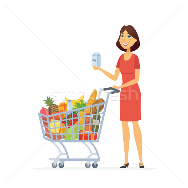 Young woman with a shopping cart - cartoon people characters isolated illustration Stock photo © Decorwithme