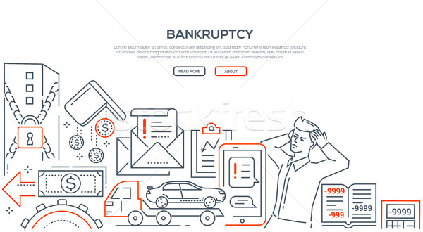 Bankruptcy - modern line design style illustration Stock photo © Decorwithme