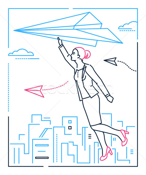 Businesswoman flying on a paper plane - line design style illustration Stock photo © Decorwithme