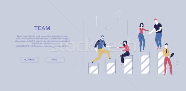 Teamarbeit Design Stil farbenreich Banner grau Stock foto © Decorwithme