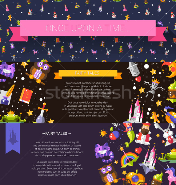 Set of modern flat design fairy tales and magic flyer templates Stock photo © Decorwithme