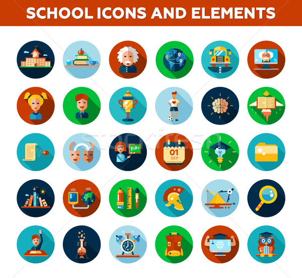Stock photo: Set of school, college flat design icons and infographics elements. Back to school