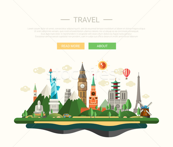 Flat design composition illustration with world famous landmarks  Stock photo © Decorwithme