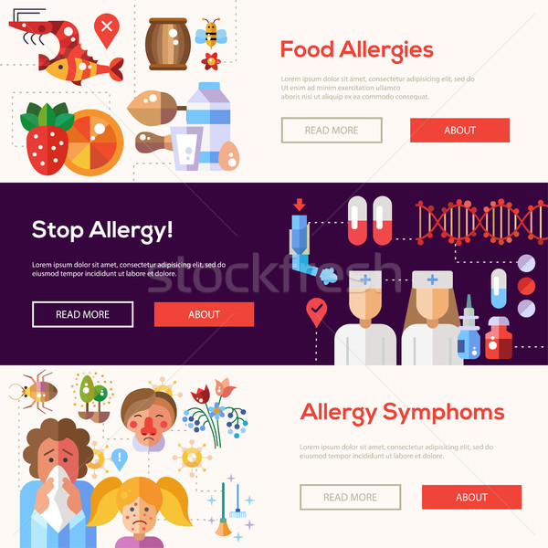 Allergy and allergens flat design website banners set Stock photo © Decorwithme