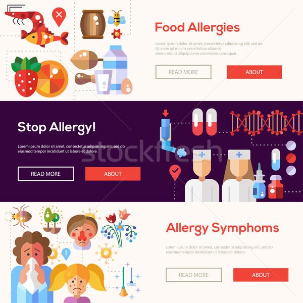 Allergie ontwerp website banners ingesteld vector Stockfoto © Decorwithme
