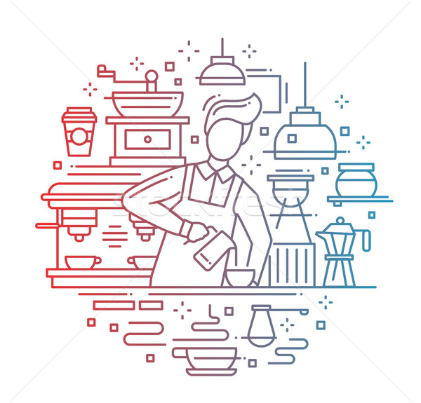 Erkek barista kahve hat dizayn Stok fotoğraf © Decorwithme
