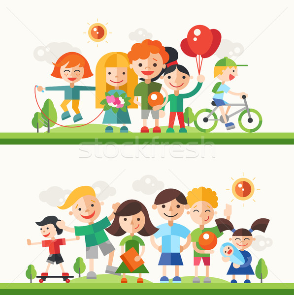 Children hobbies and activities - flat design characters compositions set Stock photo © Decorwithme