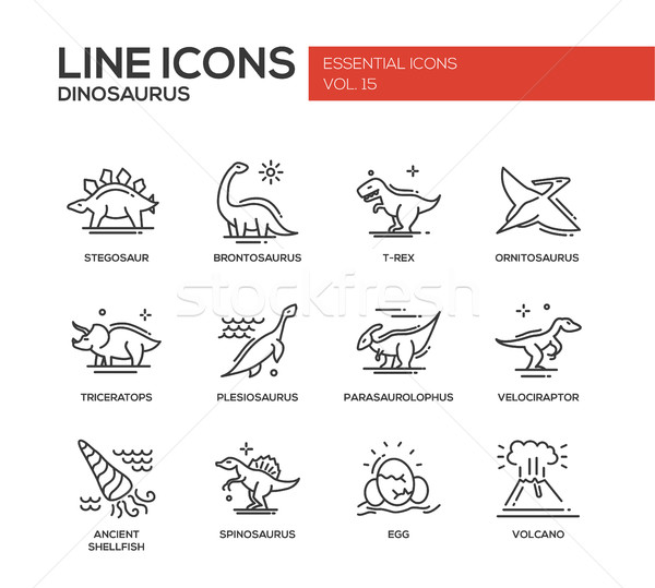 Dinosaurs species- line design icons set Stock photo © Decorwithme
