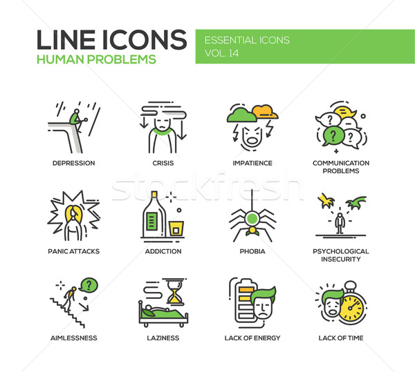 Human psychological problems- line design icons set Stock photo © Decorwithme