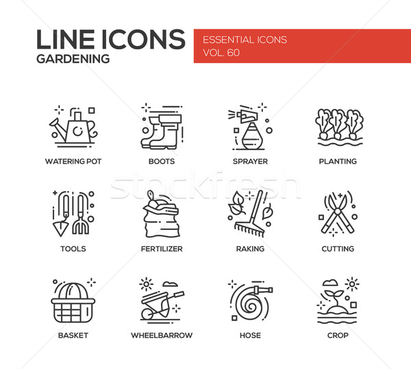 Gardening - line design icons set Stock photo © Decorwithme