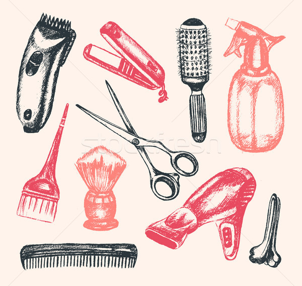 Barber Equipment - illustration of hand drawn compostion Stock photo © Decorwithme