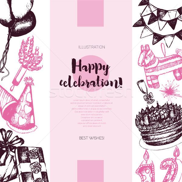 Joyeux anniversaire couleur vintage bannière vecteur Photo stock © Decorwithme