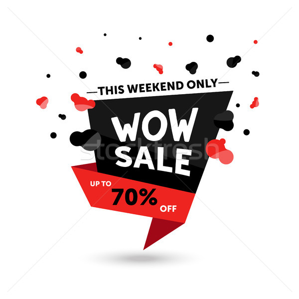 Wow verkoop moderne korting promo vector Stockfoto © Decorwithme