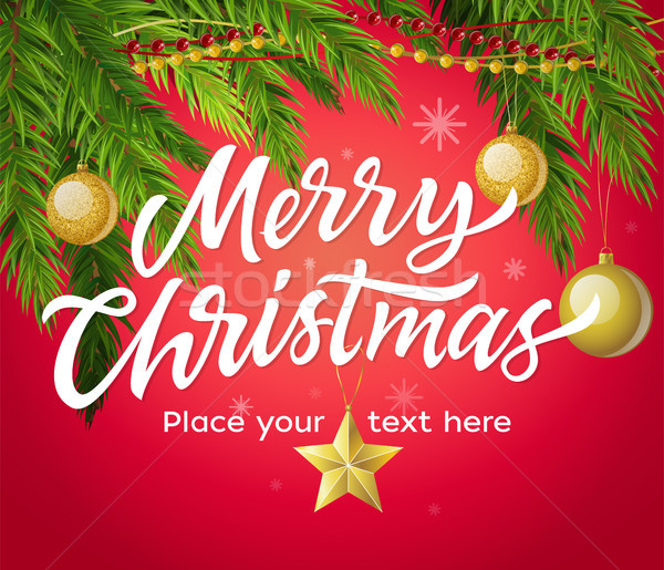 Stock photo: Merry Christmas - modern vector illustration with place for text