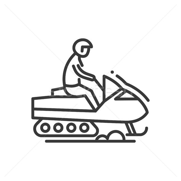 Snow racer - line design single isolated icon Stock photo © Decorwithme