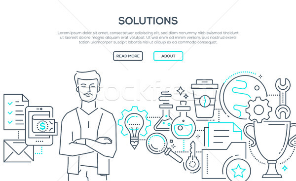 Solutions - modern line design style illustration Stock photo © Decorwithme