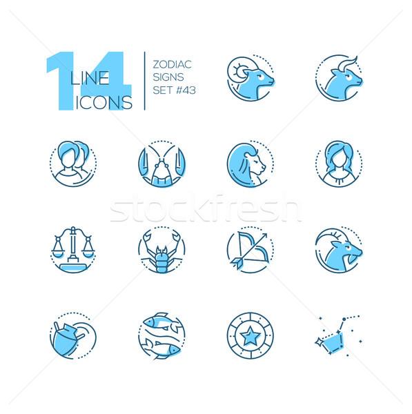 зодиак признаков набор линия дизайна стиль Сток-фото © Decorwithme