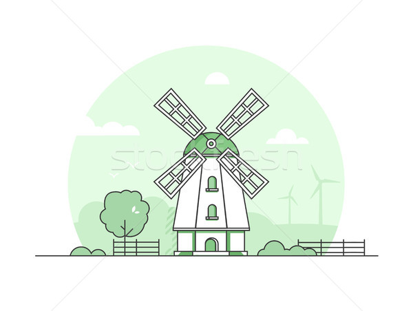 Eco farming - modern thin line design style vector illustration Stock photo © Decorwithme