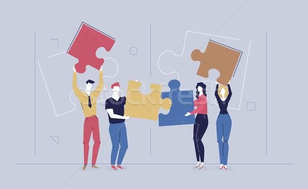 Teambuilding - modern flat design style colorful illustration Stock photo © Decorwithme