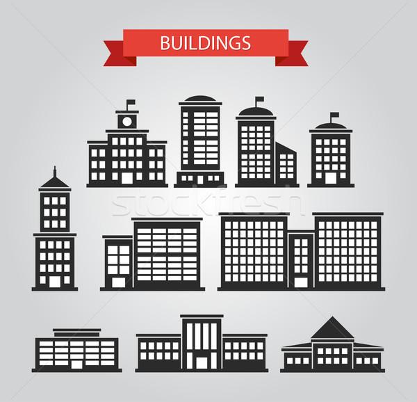 Stockfoto: Ingesteld · ontwerp · gebouwen · pictogrammen · vector · business