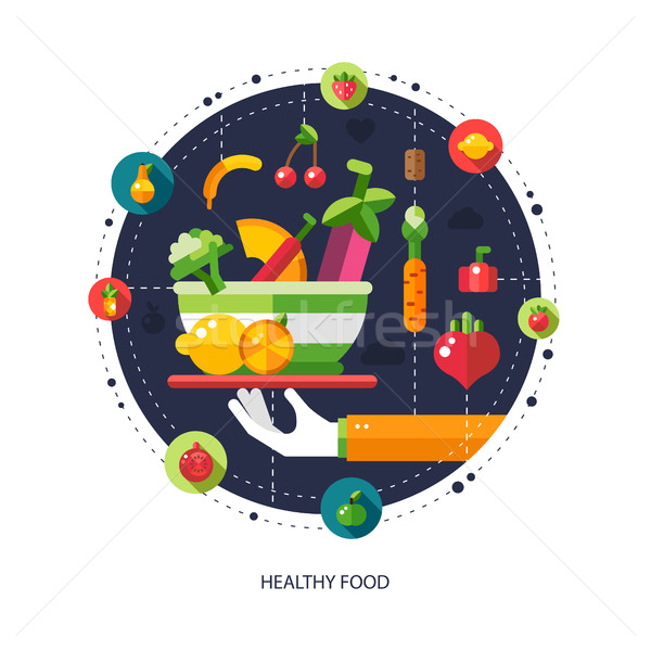 Stock photo: Illustration of flat design fruits and vegetables icons composit