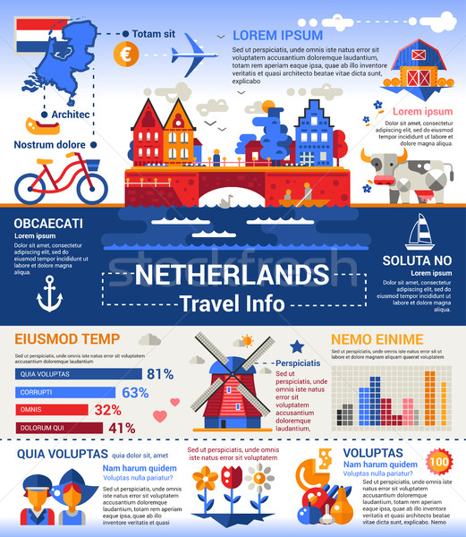 Netherlands Travel Info - poster, brochure cover template Stock photo © Decorwithme