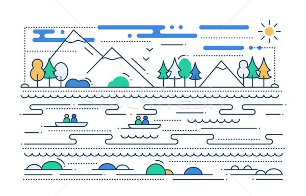 Víz turizmus vonal terv illusztráció vektor Stock fotó © Decorwithme