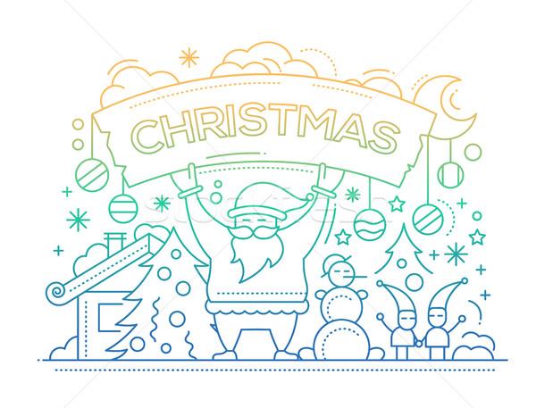 Merry Christmas - line design card Stock photo © Decorwithme