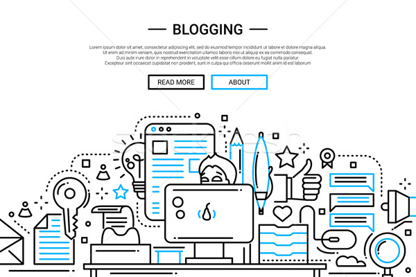Blogging - line design website banner Stock photo © Decorwithme