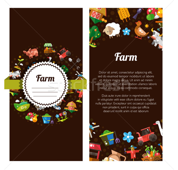 Flyer template of modern flat design  farm and agriculture icons Stock photo © Decorwithme