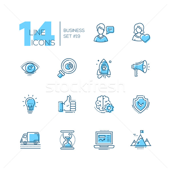 Business - coloured modern single line icons set Stock photo © Decorwithme