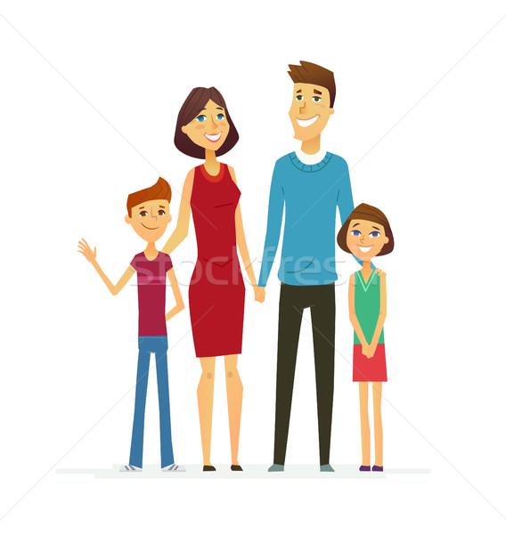 Stock photo: Family - coloured modern flat illustrative composition.
