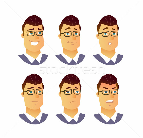 Male Facial Expressions - modern vector business cartoon characters illustration Stock photo © Decorwithme
