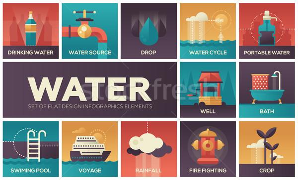 Su ayarlamak dizayn infographics elemanları renkli Stok fotoğraf © Decorwithme