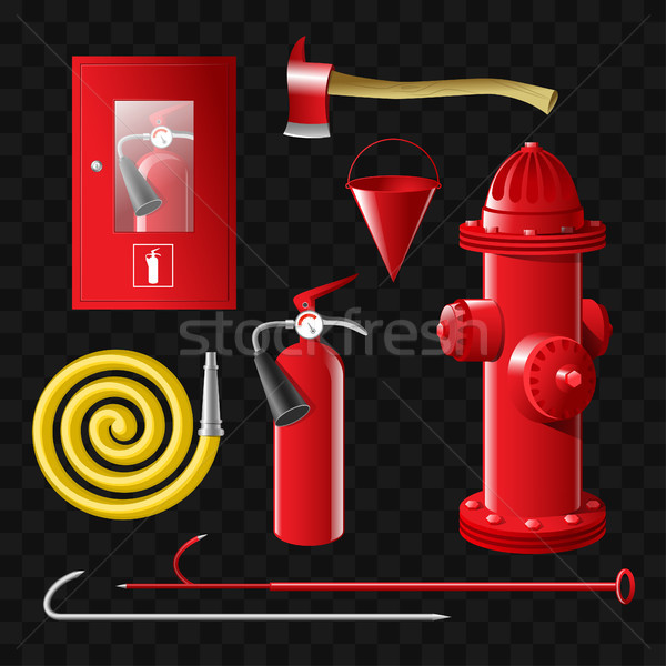 Firefighting equipment - set of realistic vector isolated objects Stock photo © Decorwithme